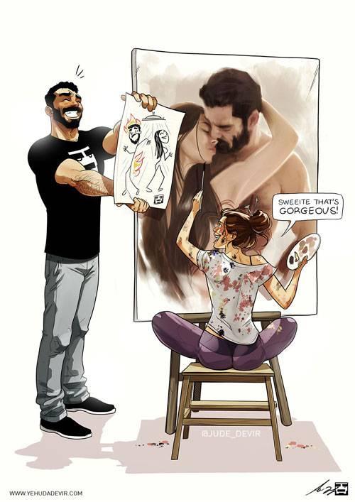 Họa sĩ Yehuda Adi Devir nổi tiếng trên mạng xã hội với những bức vẽ mô tả cuộc sống, tình yêu của anh dành cho vợ. Những khoảnh khắc đời thường diễn ra hàng ngày của hai người trở nên chân thực, sống động và đầy hài hước trong từng bức vẽ.