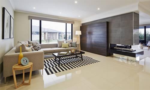 Phòng khách nên dùng các loại gạch có màu trơn, độ bóng phản xạánh sáng. Ảnh minh họa: Tiledecor.